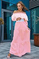 ✔️ Платья длинное с рукавом-воланом батистовое 42-48 размера светло-розовое, фото 1