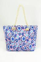 Пляжная сумка с ярким цветочным рисунком и ручками из каната в разных расцветках, фото 1