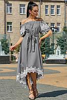 ✔️ Асимметричное платье с кружевом 44-50 размера серое, фото 1