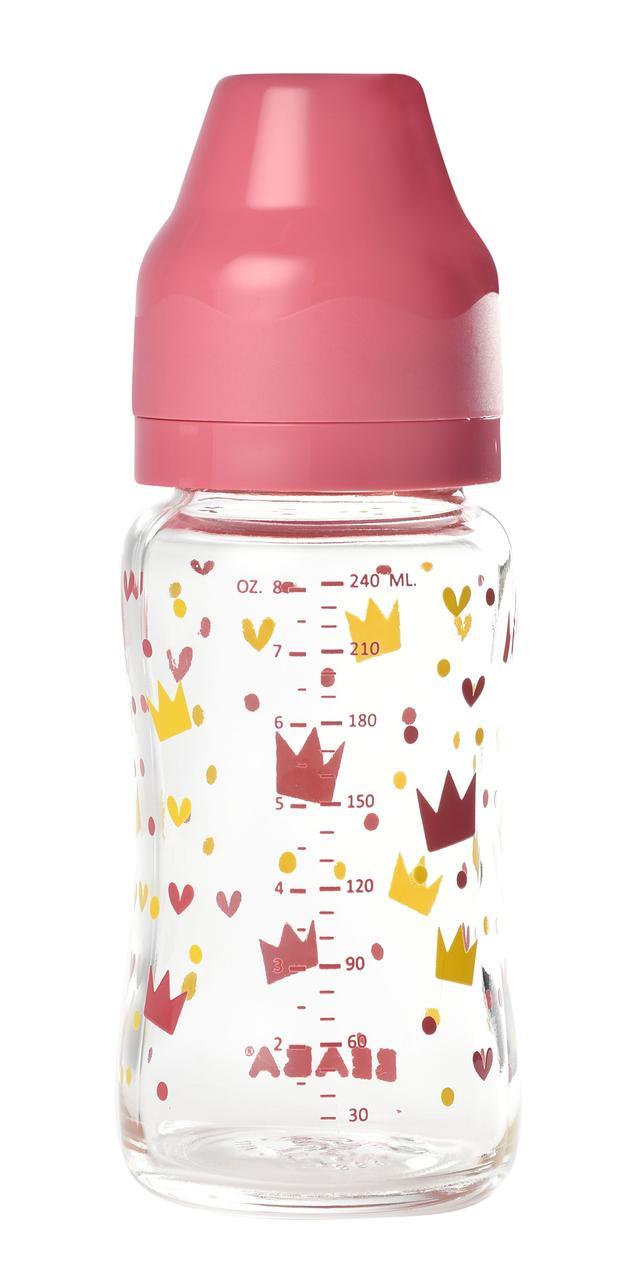 Beaba - Стеклянная бутылочка с широким горлышком 240 мл, цвет розовый
