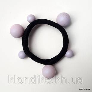 Резинка для волос микрофибра, с бусинами, d резинки - 5.5 см, d бусин - 8 мм и 14 мм