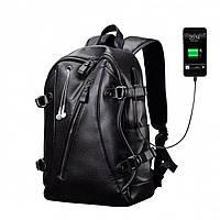Рюкзак мужской городской кожаный LIELANG с USB портом (черный)