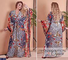 Шикарная длинная женская пляжная туника в ярких цветах с 50 до 60 размер