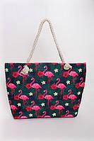 Пляжная женская сумка в принт фламинго с ручками из веревки , фото 1