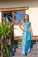 Платье макси из стрейч шифона акварельный принт 5540, 42