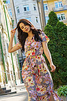 Платье макси из стрейч шифона сдекоративнымиволанами 5542, 42