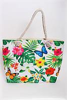 Пляжная сумка в растительный принт с ручками из каната, фото 1