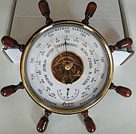 Барометр Штурвал с позолотой циферблата, фото 1