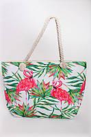 Пляжная сумка в пальмовые листья и фламинго с ручками из каната, фото 1