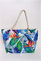 Пляжная женская сумка в растительный принт с ручками из каната , фото 1