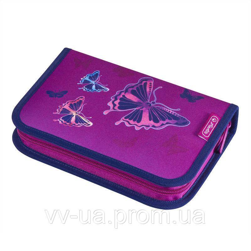 Пенал для школы с наполнением 31 предмет Herlitz Butterfly Glitter Бабочки 50020928