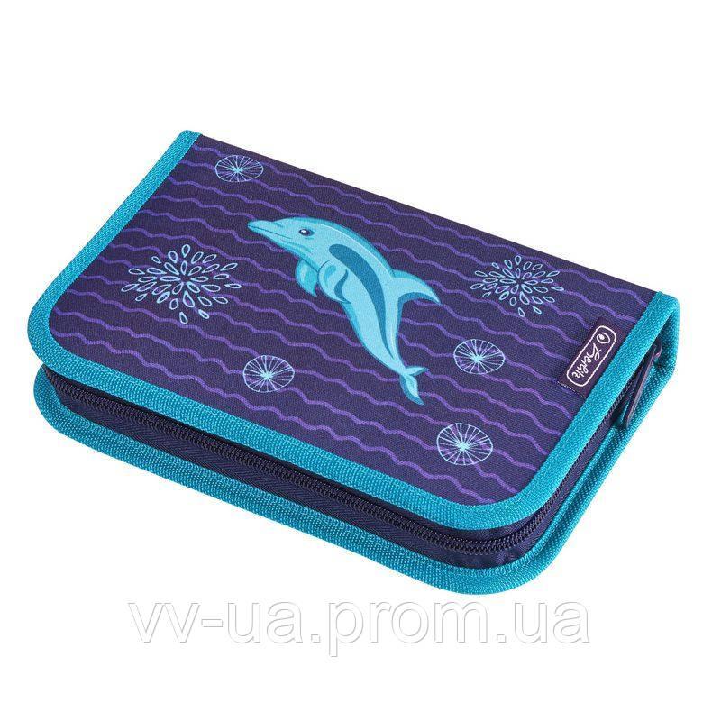 Пенал для школы с наполнением 31 предмет Herlitz Dolphin Дельфин 50020966