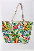 Пляжная сумка в ананасы с ручками из каната , фото 1