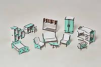 Набор кукольной мебели NestWood спальня+гостиная+детская Мятная (kml003m)