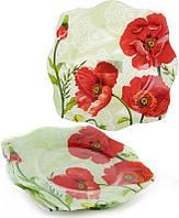 Набор 6 подставных тарелок Bona Красные маки стекло d 30 см Зелено-красный BD-809-279psg, КОД: 172157