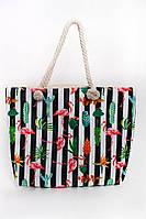 Пляжная женская сумка в полоску и растительный принт, фото 1