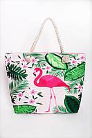 Пляжная женская сумка розовая с принтом , фото 1