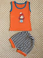 Летний костюм для девочки 86-92, оранжевий