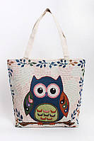 Пляжная женская сумка с вышивкой сова, фото 1