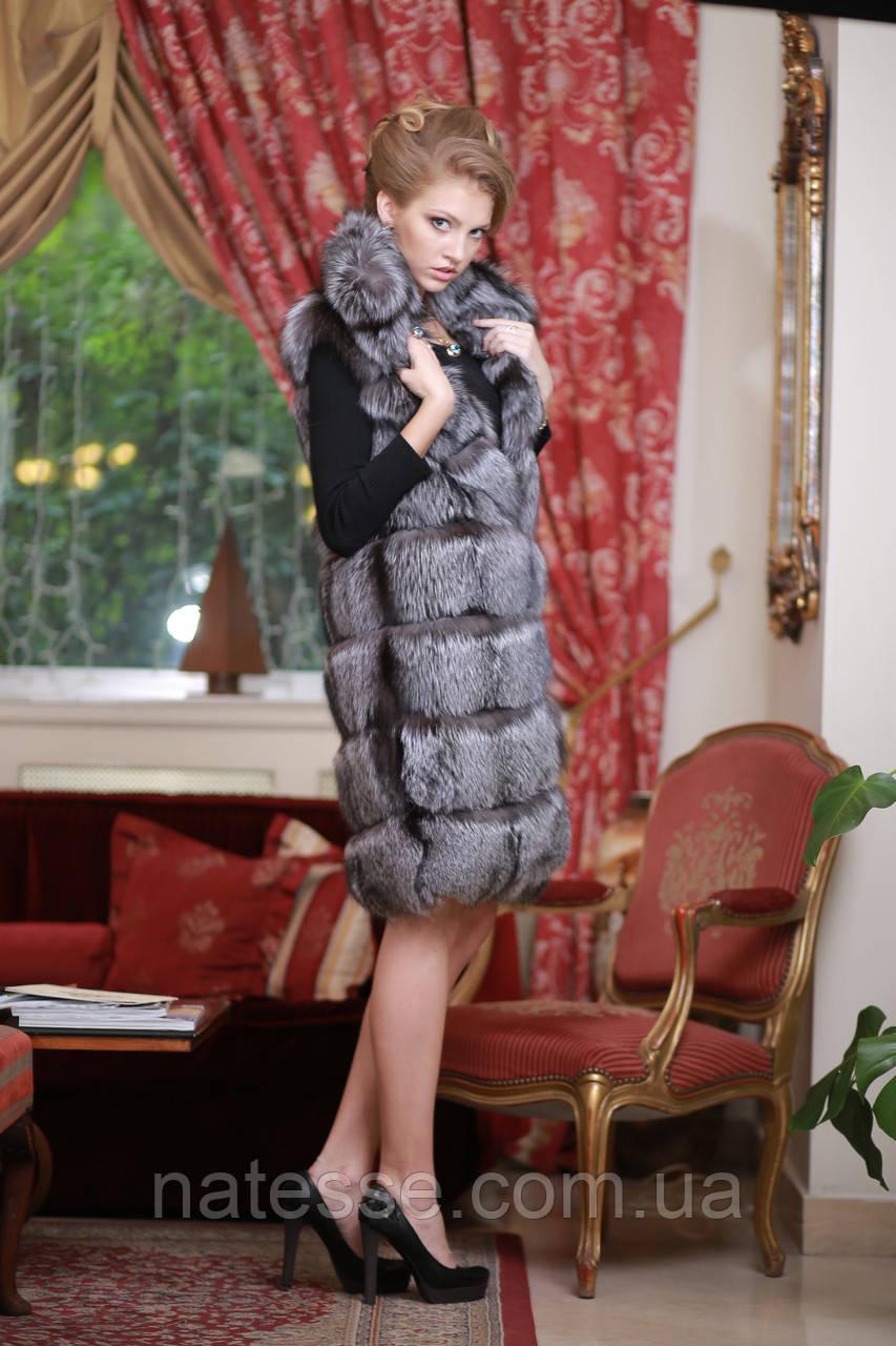 Жилет из цельной чернобурки  ярусами spliced silver fox fur vest gilet sleeveless over coat fur waist coat