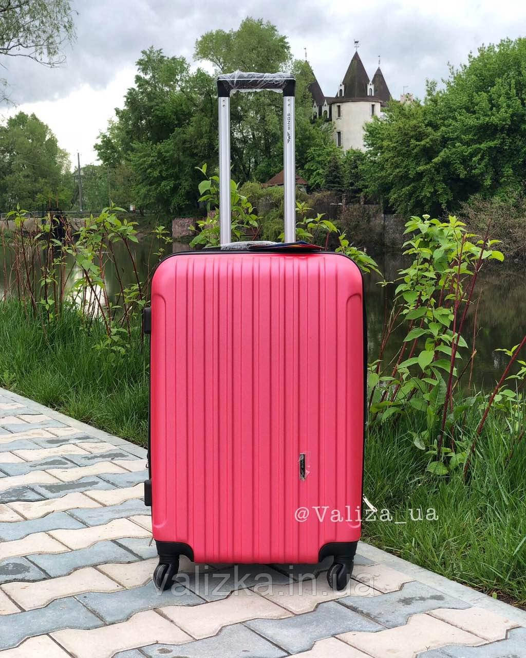 Чемодан из поликарбоната средний чемодан розовый с расширителемПольша / Валіза середня з полікарбонату