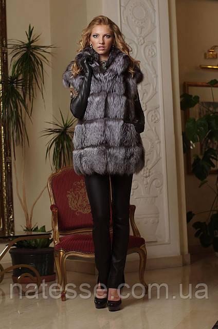 Жилет жилетка из чернобурки ярусами  silver fox fur vest gilet