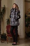 Жилет жилетка из чернобурки ярусами  silver fox fur vest gilet, фото 2