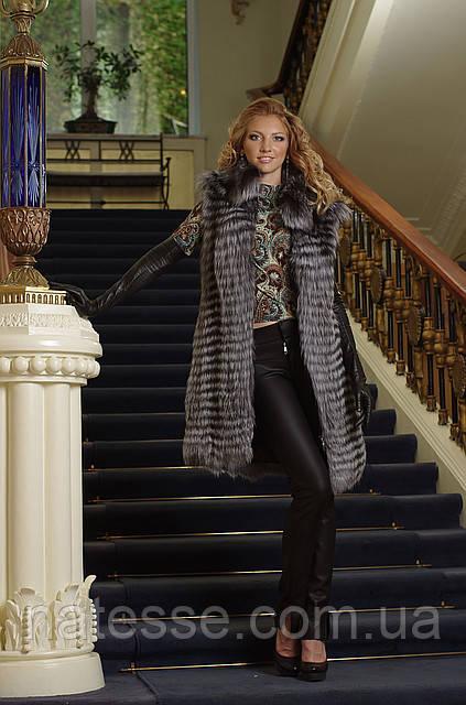 жилет жилетка из чернобурки  silver fox fur vest