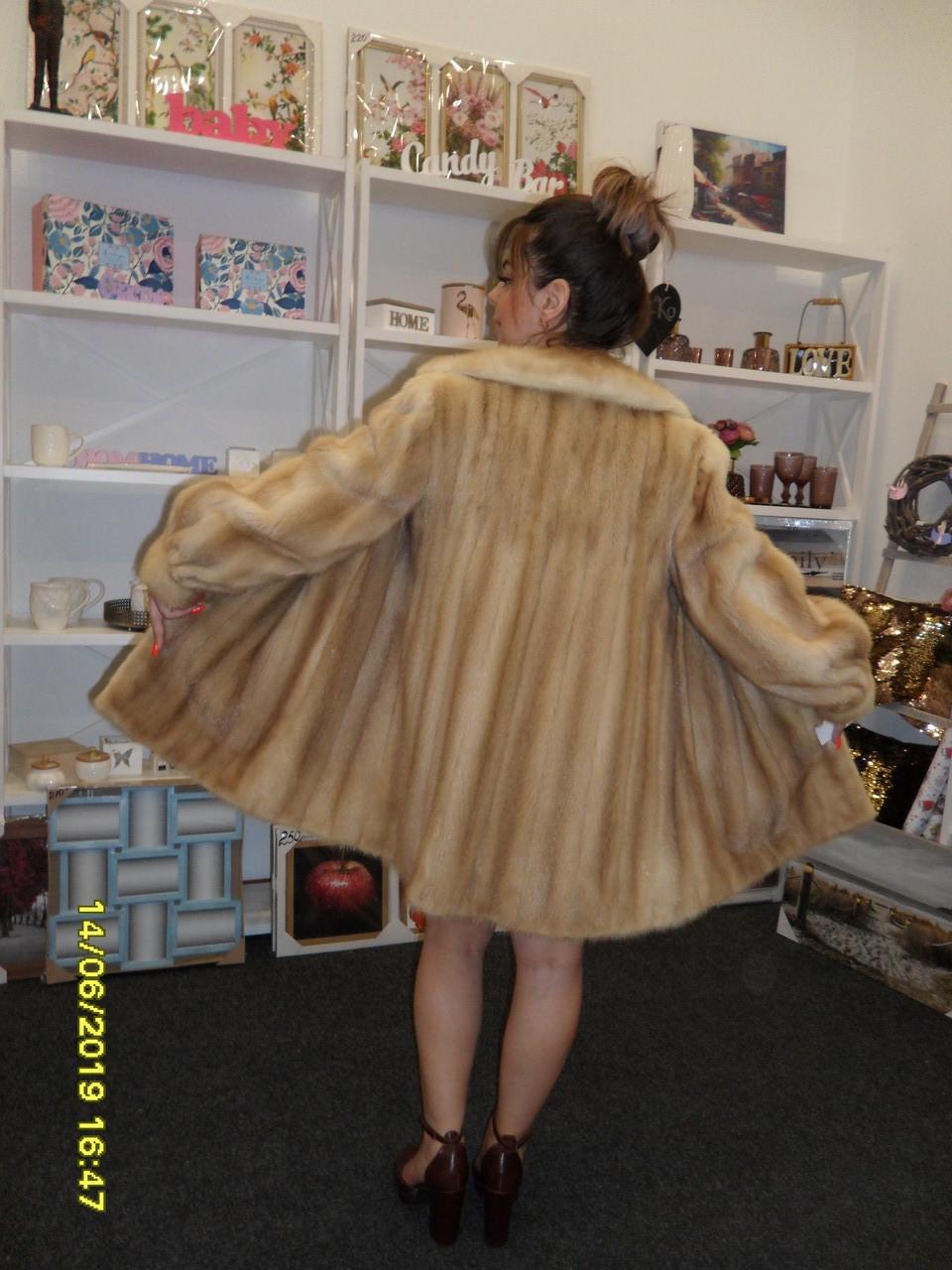 Красивая норковая шуба паломино натуральная норка удлиненный норковый полушубок 44 46 размер