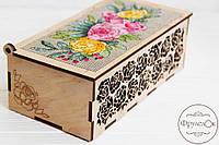 """Набор для вышивання крестиком на деревянной основе ФрузелОк """"Шкатулка с розами"""" 0901, фото 1"""