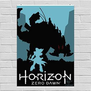 Постер Horizon Zero Dawn, минималистичный арт. Размер 60x42см (A2). Глянцевая бумага