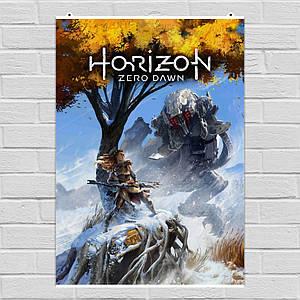Постер Элой с луком и огромный робот. Horizon Zero Dawn. Размер 60x42см (A2). Глянцевая бумага