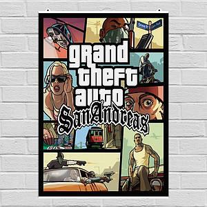 Постер GTA, Grand Theft Auto: San Andreas, ГТА. Размер 60x49см (A2). Глянцевая бумага