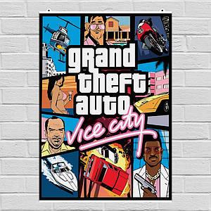 Постер Grand Theft Auto: Vice City, GTA, ГТА. Размер 60x47см (A2). Глянцевая бумага