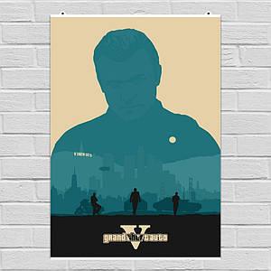 Постер Grand Theft Auto: Vice City, GTA, ГТА, минималистичный. Размер 60x43см (A2). Глянцевая бумага