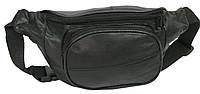 Кожаная поясная сумка Cavaldi 903-353 black, черная