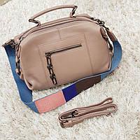 Жіноча рожево-бежева сумочка з натуральної шкіри, фото 1
