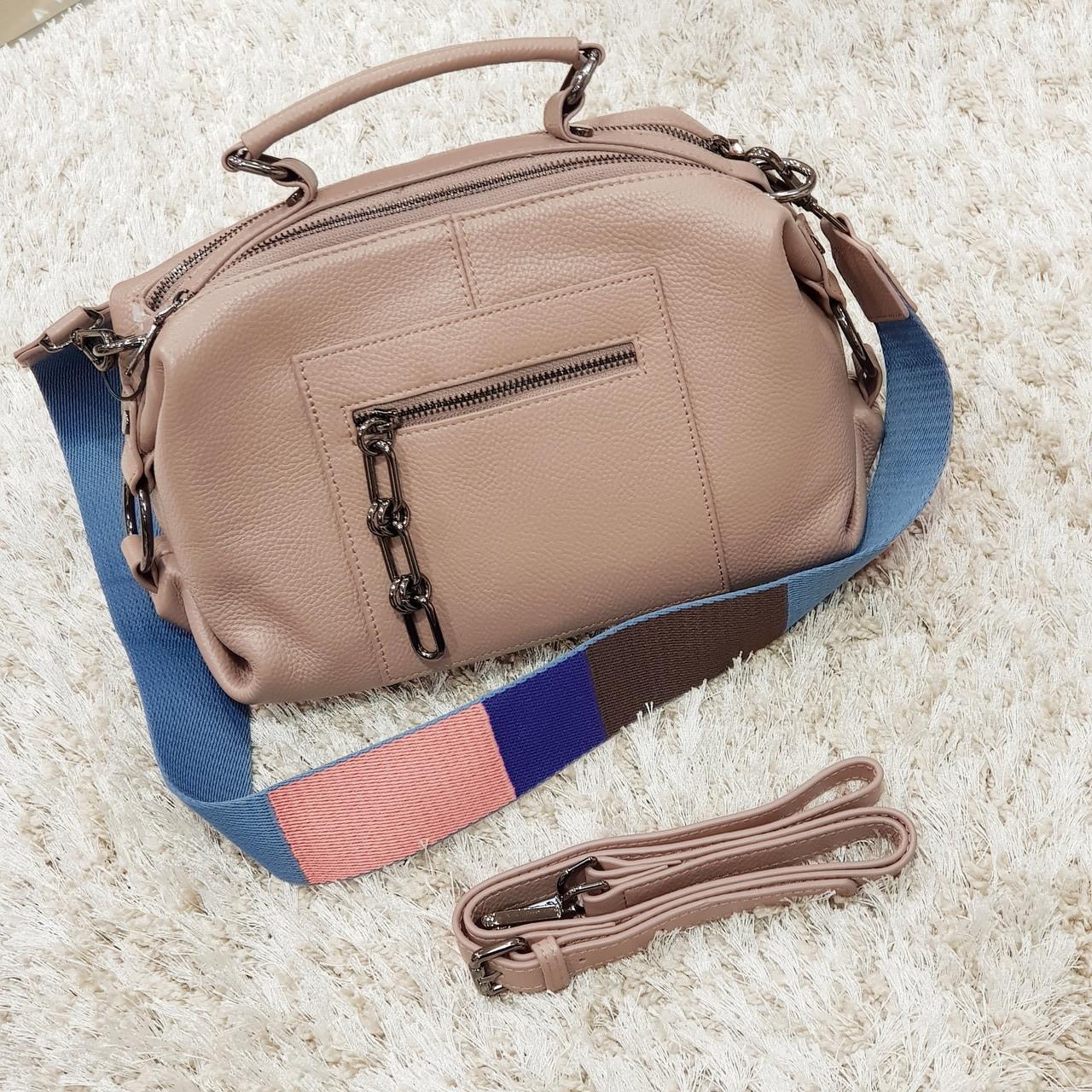 Женская розово-бежевая сумочка из натуральной кожи
