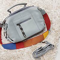Женская голубая сумочка из натуральной кожи, фото 1