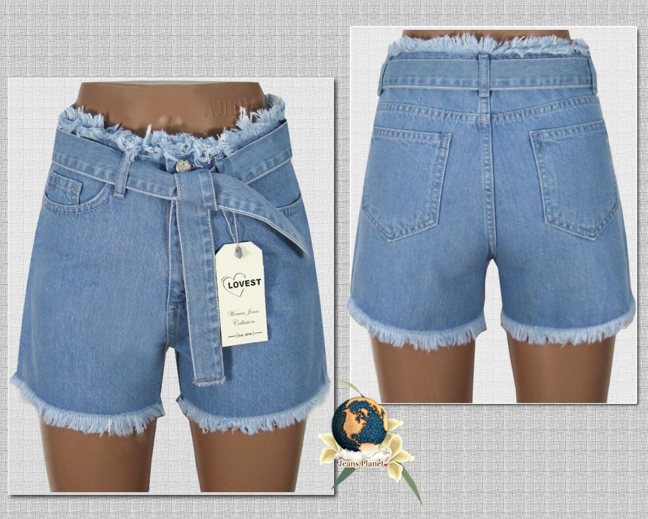 Шорти жіночі джинсові Мом c бахромою і джинсовим поясом