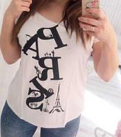 """Женская футболка """"Делайн"""": большие размеры 50-52, белый"""