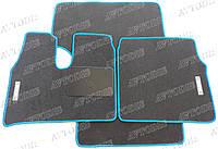 MAN TGA ворсовые коврики (широкая кабина)(серый-синий) ЛЮКС