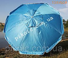 Зонт пляжный Усиленный 2 м Клапан + Наклон + Напыление. Для пляжа, от солнца. Спицы ромашка. Голубой