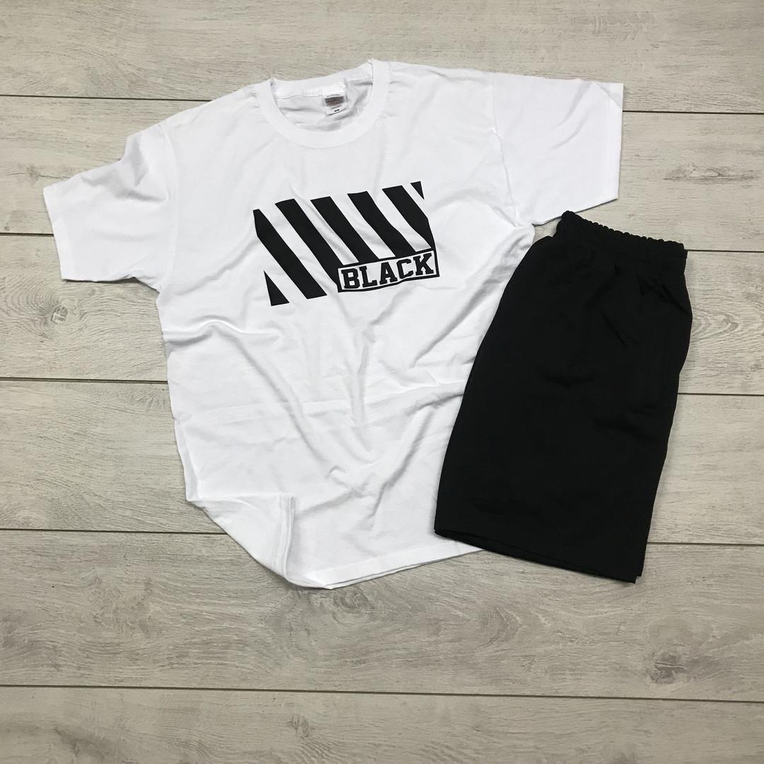 Мужской летний комплект шорты и футболка Black white мужская белая с черным. Живое фото
