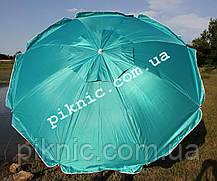 Зонт пляжный Усиленный 2 м Клапан + Наклон + Напыление. Для пляжа, от солнца. Спицы ромашка. Бирюза, фото 3