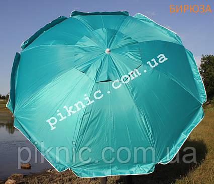 Зонт пляжный Усиленный 2 м Клапан + Наклон + Напыление. Для пляжа, от солнца. Спицы ромашка. Бирюза, фото 2