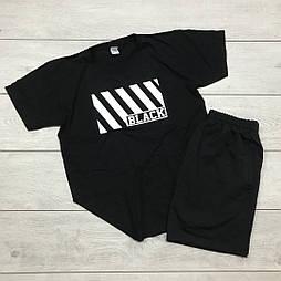 Мужской летний комплект шорты и футболка Black white мужская черная. Живое фото