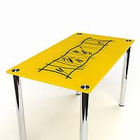"Кухонный желтый стеклянный стол ""Бамбук"", фото 1"
