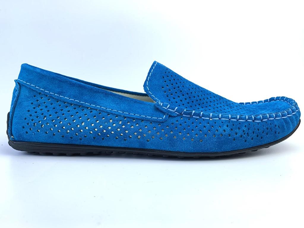 Мокасины бирюзовые мужские замшевые летняя стильная обувь Rosso Avangard SE Alberto Turq Perf