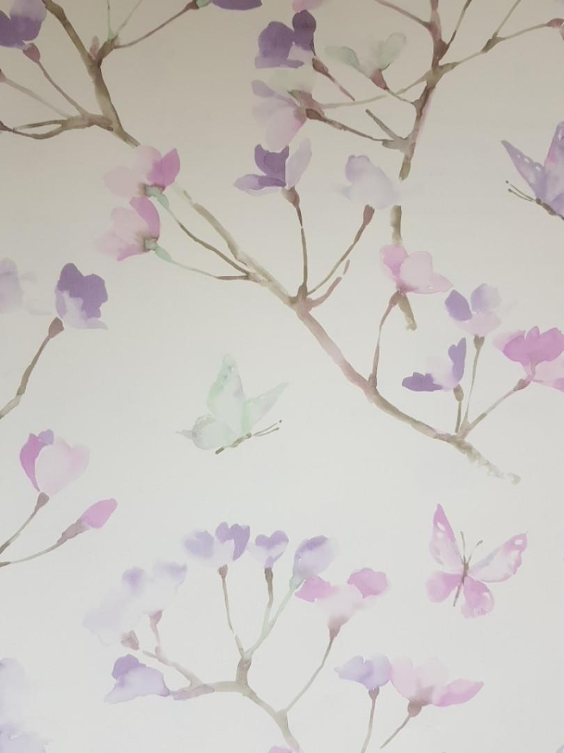 Обои бумажные YORK  KI0515 A Perfect World детские молодежные  бабочки цветы ветки